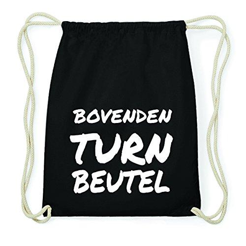 JOllify BOVENDEN Hipster Turnbeutel Tasche Rucksack aus Baumwolle - Farbe: schwarz Design: Turnbeutel