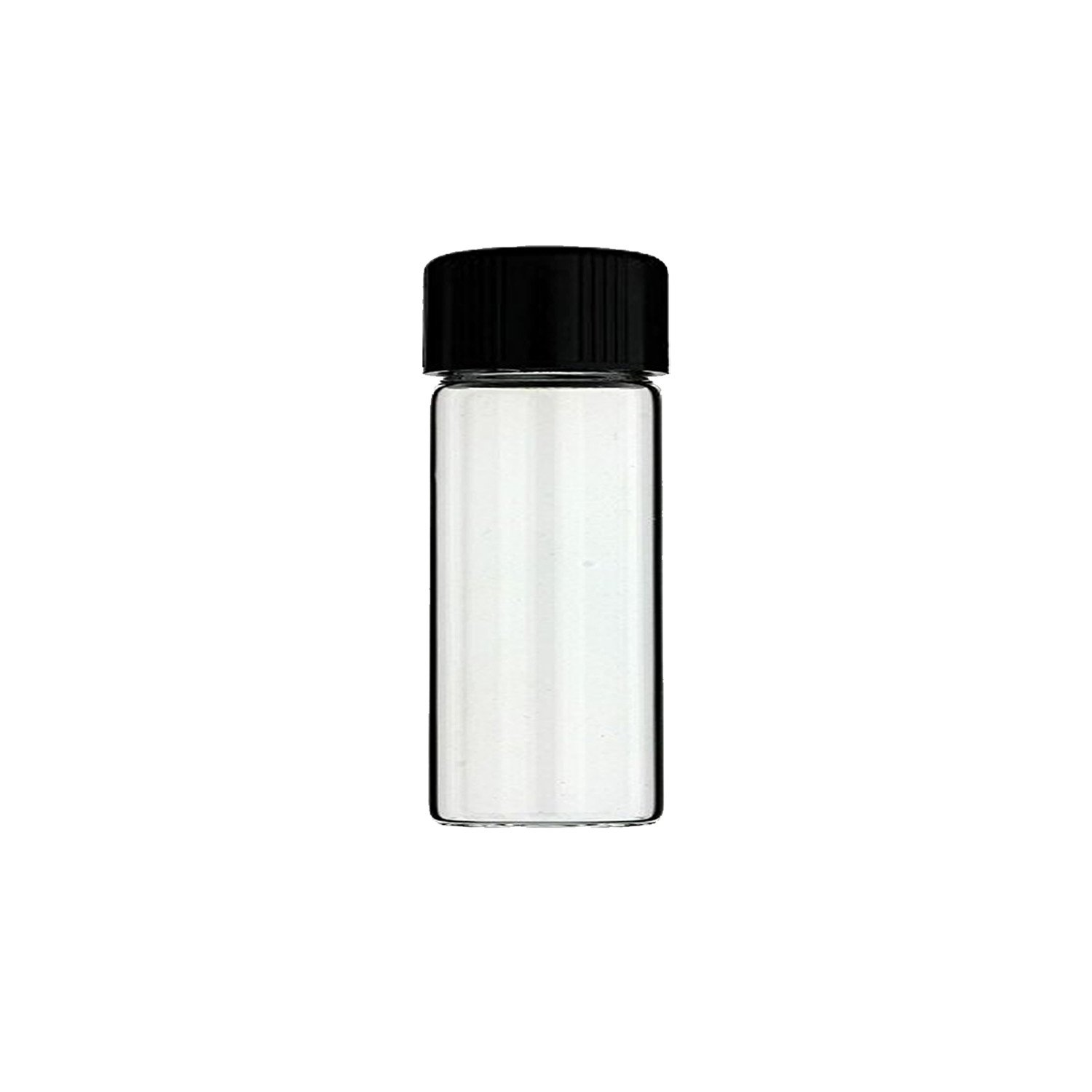 12PCS 3 inches 30 mL Clear Glass Bottles Storage Container Sample Cosmetic Herb Spice Specimen Vials with Black Phenolic Screw on Caps Pomcat