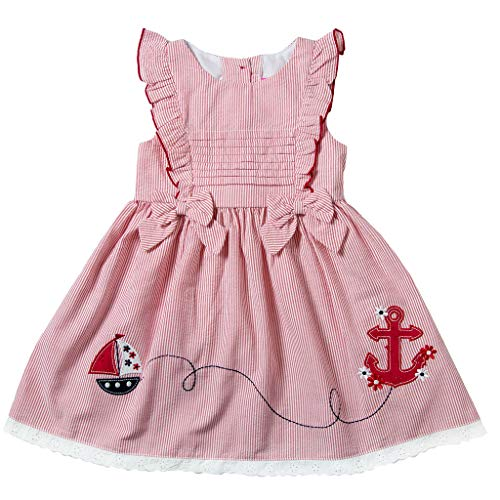 Good Lad Girls Dress - Good Lad Infant Girls Red Seersucker Dress with Sailboat and Anchor Appliques (24M)