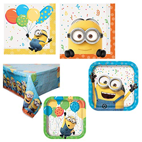 (Unique Despicable Me Minion Party Supplies and Decorations | Dinner and Dessert Paper Plates, Luncheon and Beverage Paper Napkins and Table)