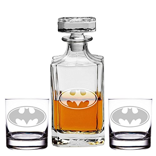 Abby Smith, Batman Engraved Decanter and Rocks Glasses, Set of 3 by All Gifts