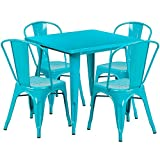 Brimmes 5-pcs Table Set Square 31.5'' Crystal Teal-Blue w/4 Stack Chairs