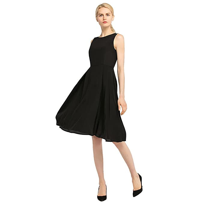 LilySilk Silk Little Black Dress for Women Classic Vintage 100% Pure Silk  16MM (Black 499ff30e3c25