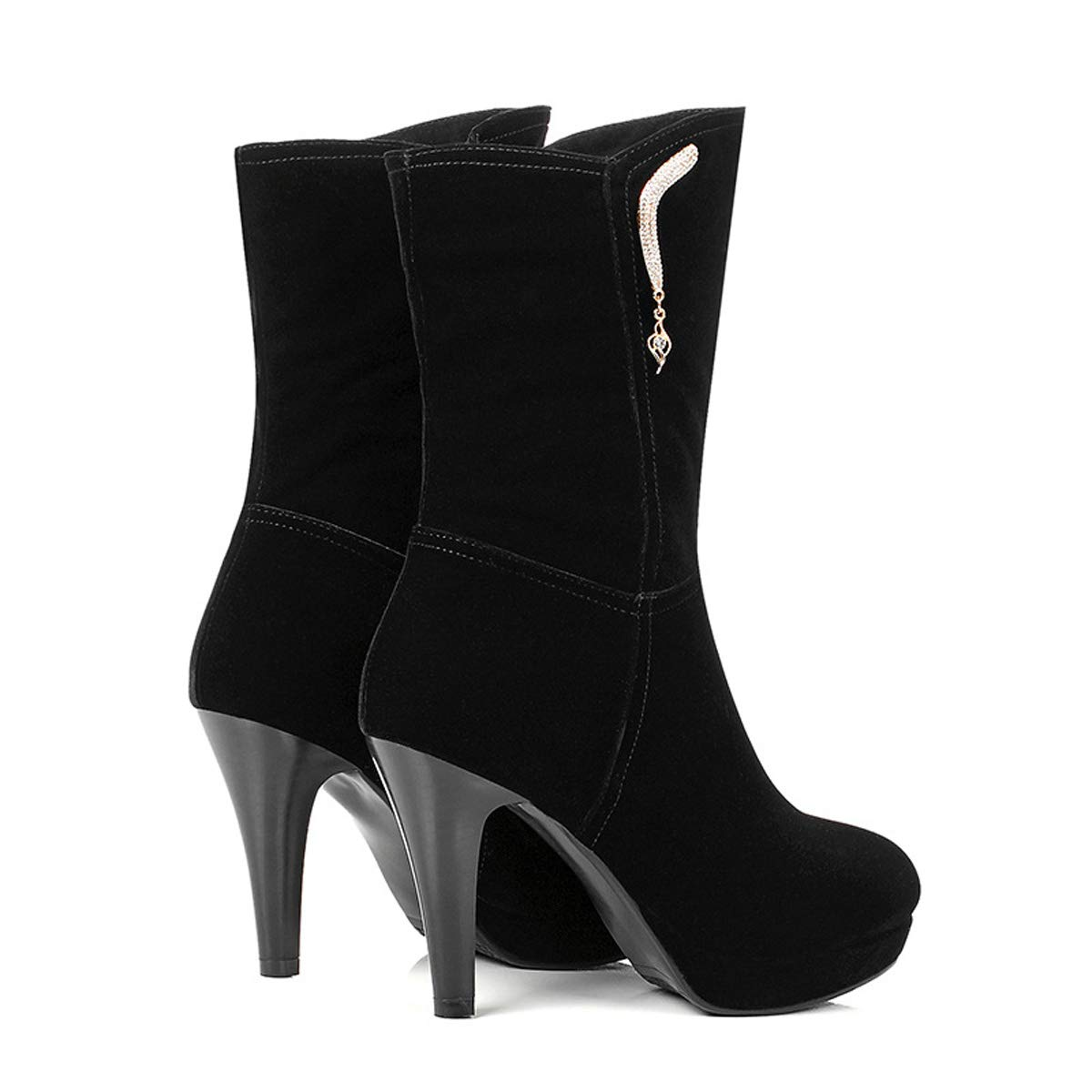 DANDANJIE damen High Heels Stiefel Mid Calf Knee Zipper Zipper Zipper Tassel schuhe Winter Martin Stiefelies Elegant Suede Stiefel 202445