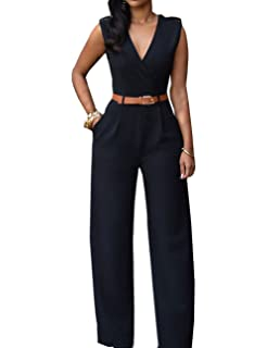 iecool Womens Sexy Deep V Sleeveless High Waist Belted Wide Leg Jumpsuit