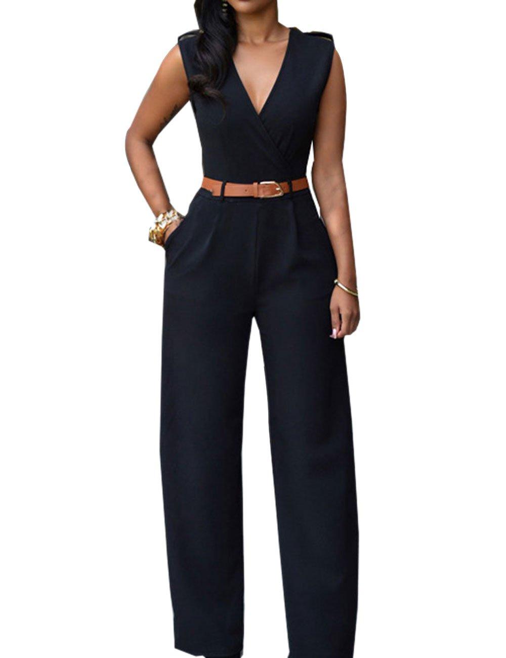 iecool Womens Sexy Deep V Sleeveless High Waist Belted Wide Leg Jumpsuit Black Large