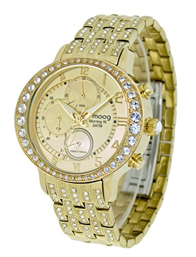 Moog Paris - Morning fit - Women / Men Chronograph Watch with gold dial, gold strap in stainless steel - - Made in France - M44854-002
