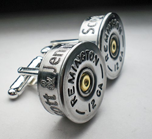 12 Gauge RP Nickel Bullet Engraved Personalized Bullet Cufflinks Wedding Gift Groomsman Best Man