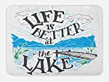 Lunarable Cabin Bath Mat, Life is Better at the Lake Wooden Pier Plants Mountains Sketch Art, Plush Bathroom Decor Mat with Non Slip Backing, 29.5 W X 17.5 W Inches, Blue Jade Green Charcoal Grey