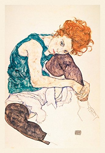 Buyenlarge The Artist's Wife or Seated Woman with Bent Knee by Egon Schiele Wall Decal, 48'' H x 32'' W