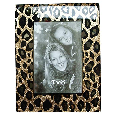 Leopard Photo - CN CRAFTS 4 X 6 Photo Frames with Hand-Polished Beveled and Gold/Black Leopard Printing in Glass Decor,7 X 9 Inches