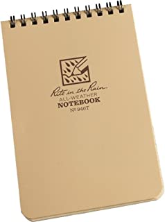 """product image for Rite In The Rain All-Weather Top-Spiral Notebook, 4"""" x 6"""", Tan Cover, Universal Pattern (No. 946T)"""