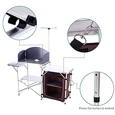 CampLand Folding Cooking Table Outdoor Portable Cook Station Aluminum Camping Kitchen with Storage Organizer, Windscreen, Hooks for BBQ, Party: Kitchen & Dining