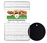 Darbee 10x15 Inch Cooling & Baking Rack, with ◆Bonus◆ 7'', Black Silicone Pot Holder, 100% Heavy Duty Stainless Steel, Nonstick, Tight Grid Design, Oven Safe