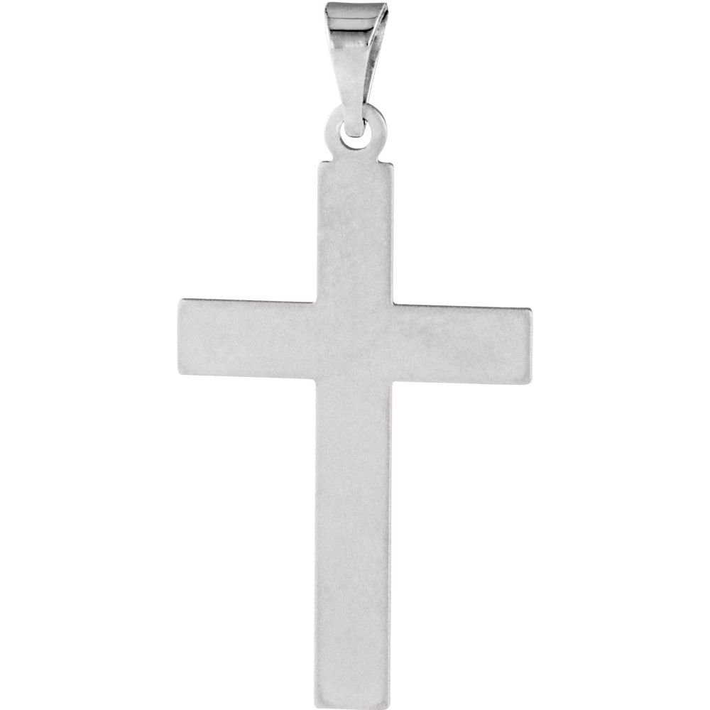 14K White Cross Pendant