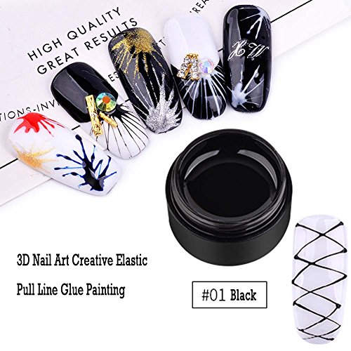 Black Sculpture Design - Lookathot 1 Box 3D Nail Art Creative Elastic Pull Line Glue Painting Drawing Polish Emboss UV Gel Sculpture Design Manicure DIY Decorative Tips Tools Accessories (#01 Black)