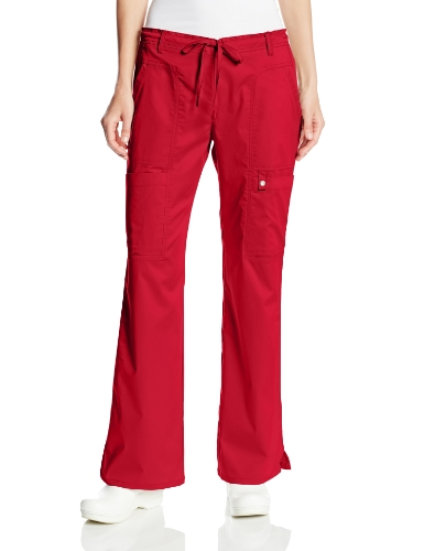 Cherokee Women's Luxe Contemporary Fit Low Rise Drawstring Cargo Pant, Red, Medium (Cherokee Trousers)