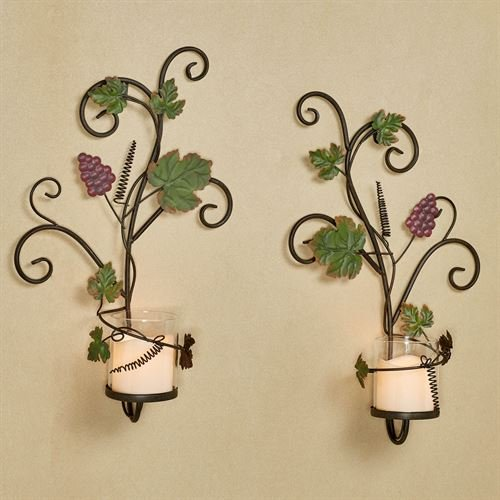 Vining Grapes Wall Sconces Sangria Set of Two ()