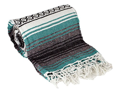 Green Large Authentic Falsa Mexican Yoga Meditaion Blanket 7'/5' Southwest Rug Throw ()