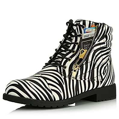 DailyShoes Women's Military Lace up Buckle Combat Boots Ankle High Exclusive Credit Card Pocket, Zebra Pu, 5