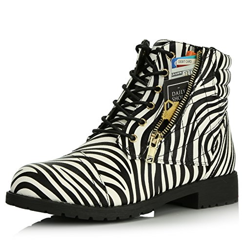 DailyShoes Women's Military Lace Up Buckle Combat Boots Ankle High Exclusive Credit Card Pocket, Zebra Pu, 6.5
