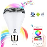 PHONECT Wireless Bluetooth 4.0 Speaker Dimmable Multicolored LED Light Bulb, Smartphone Remote Controlled Color Changing Lights for iPhone, iPad, Android Phone and Tablet