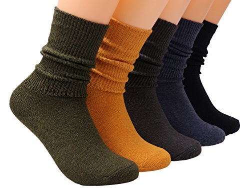 Galsang 5 Pairs Womens Casual Cotton Crew Sock Soft Slouch Knit Socks Solid Color,Size 5-10 A402