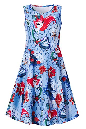 (Little Girls Mermaid Dresses Funny Fish Scale Frock and Scallop 3D Print Sundress Sleeveless Princess Dress for 4-5 Years)