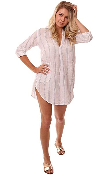 17489116c1c CP SHADES Tops V Neck Lightweight Rolled Sleeve Striped Linen Coverup at  Amazon Women's Clothing store: