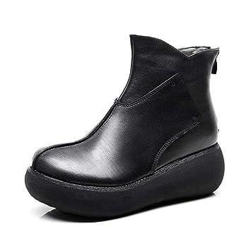 Las Mujeres Ronda Toe Cuña Talón Chino Estilo Botines Grueso-Inferior Plataforma Zapatos De Vestir Zapatos OL Corte Zapatos UE Tamaño 34-40: Amazon.es: ...