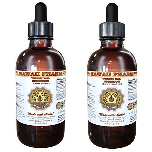 Turkey Tail Mushroom Liquid Extract, Turkey Tail Mushroom (Trametes Versicolor) Mushroom Tincture, Herbal Supplement, Hawaii Pharm, Made in USA, 2x4 fl.oz by Hawaii Pharm LLC