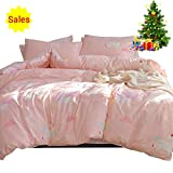 Girls Bedding Sets Pink, 3 Piece Cotton Duvet Cover Set for Kids Toddler Adult with Cartoon Unicorn Cloud Print 1 Comforter Cover 2 Pillowcases, Lightweight Striped Child Teen Bed Set Gift, Twin Size