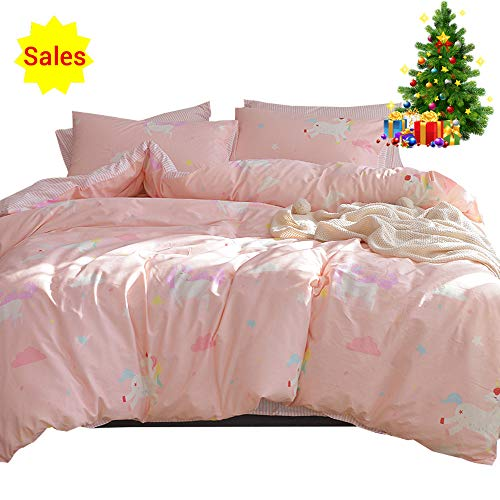 Girls Bedding Sets Pink, 3 Piece Cotton Duvet Cover Set for Kids Toddler Adult by means of  Cartoon Unicorn Cloud make 1 Comforter Cover 2 Pillowcases, light and convenient Striped infant Teen Bed Set Gift, Twin Size Black Friday & Cyber Monday 2018