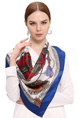 Ornamental Silk - Grace Scarves 100% Silk Scarf With Hand Rolled Edges, Large, Ornamental Tassels, Blue