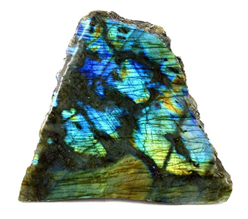 Natural Rough Labradorite Plaque Stone with Polished Face