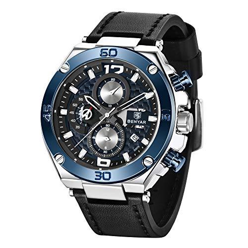 BENYAR Men Watch Quartz Chronograph Date 3ATM Waterproof Watches Business Sport Design Leather Strap Wrist Watch Perfect…