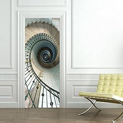 Longless Imitación de la puerta 3D pegatina, escalera de caracol ...