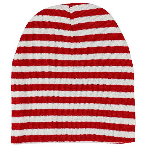 Armycrew Red White Stripe Short Skull Beanie - 1PK