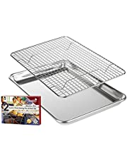 """KITCHENATICS Roasting & Baking Sheet with Cooling Rack: Small Quarter Sheet Size Aluminum Cookie Pan Tray with Stainless Steel Wire Rack - 9.6"""" x 13"""", Heavy Duty Quality, Oven Safe and Non Toxic"""