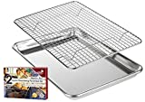 KITCHENATICS Roasting & Baking Sheet with Cooling Rack: Quarter Aluminum Cookie Pan Tray with Stainless Steel Wire Rack - 9.6' x 13', Heavy Duty Quality, Oven Safe and Non Toxic