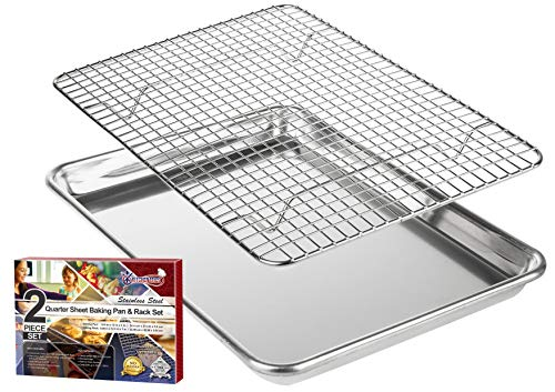 "KITCHENATICS Roasting & Baking Sheet with Cooling Rack: Small Quarter Sheet Size Aluminum Cookie Pan Tray with Stainless Steel Wire Rack - 9.6"" x 13"", Heavy Duty Quality, Oven Safe and Non Toxic"