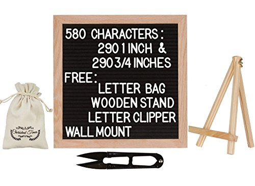 Letter Board - 10 x 10 Inches - Vintage - Black Felt - Oak Wood Frame - 580 White Letters - 290 1 Inch  and 290 3/4 Inch - Changeable Letter Board - Cherished (Colored Presentation Push Pins)