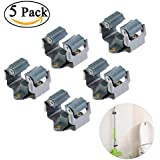 NUOLUX Mop and Broom Holder Wall Mounted Garden Storage Rack 5pcs (Grey)