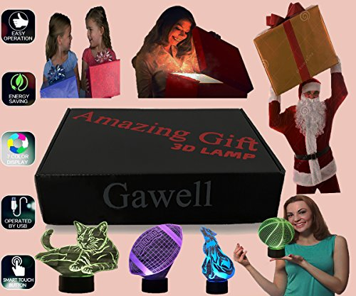 Basketball 3D Illusion Birthday Gift Lamp, Gawell 7 Color Changing Touch Switch Xmas Decoration Night Light Acrylic Flat & ABS Base & USB Cable Toy for Basketball Sports Theme Fans by Gawell (Image #6)