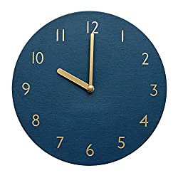 Decorative Wall Clock Silent & Non-Ticking Quartz Clock PU Leather Lightweight 0.4lb Round 9 (Navy)
