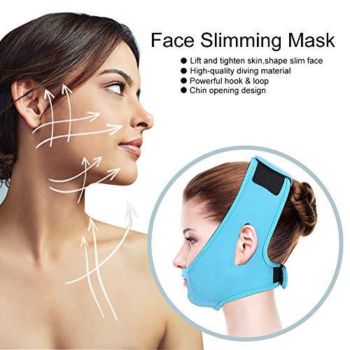 Face Slimming Mask, Slim Lift Tighten Skin Bandage Double Chin Slimming Belt for Compact Facial Skin(Blue)
