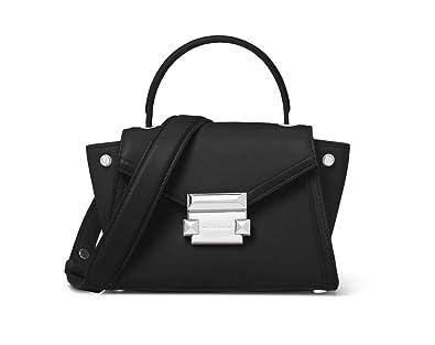 c325a0969991 Michael Kors Whitney Mini Leather Crossbody Satchel Bag - Black Silver