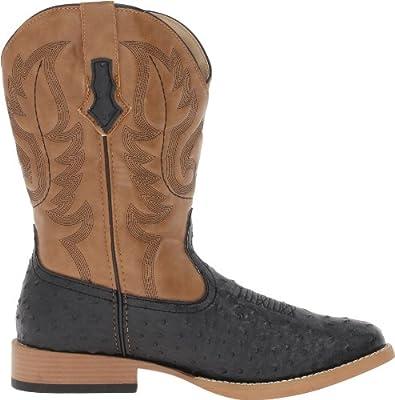 aece11bdfbe Roper Men's Ostrich Print Square Toe Cowboy Boot Black Faux Leather ...