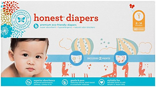 Honest Diaper Club Box, Balloons & Multi Giraffe, Size 1, 80 Count by The Honest Company