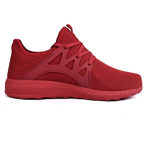 Feetmat Men's Sneakers Lightweight Breathable Mesh Gym Casual Shoes Red 9.5 D(M) US
